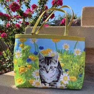 Isabella Fiore Cat in Flower Garden Beaded Tote